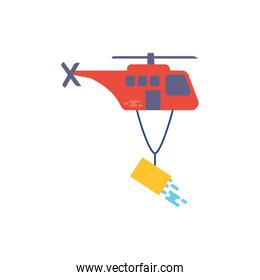 Helicopter putting out fire vector design