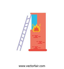 Isolated building on fire vector design