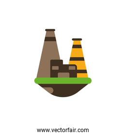 Isolated oil tower with flame vector design