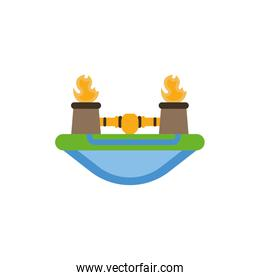 Isolated oil tanks with flame vector design