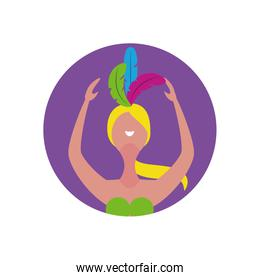 Avatar blond woman with feathers in the head vector design