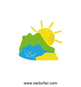 Isolated mountain river and sun vector design