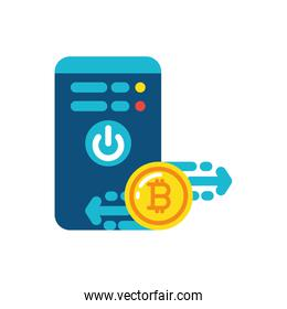 Isolated bitcoin and smartphone vector design