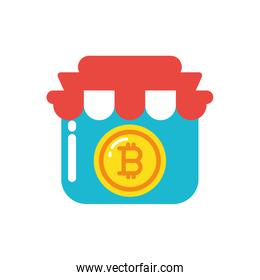 Isolated bitcoin inside store vector design