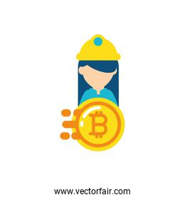 Isolated bitcoin and constructer vector design
