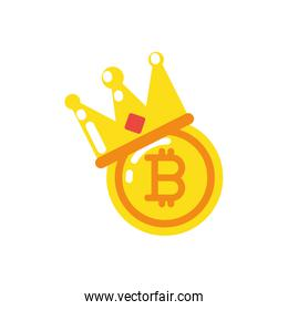 Isolated bitcoin with crown vector design