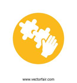 Isolated puzzles with hand inside circle vector design