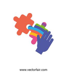 Isolated puzzles with hand, flat style icon