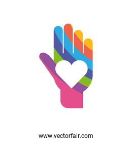 Isolated heart inside hand, flat style icon