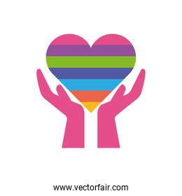 Isolated heart over hands, flat style icon