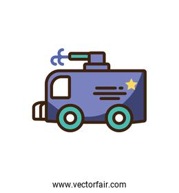 police van icon, colorful fill style