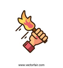 female hand holding a torch icon, fill style and colorful design