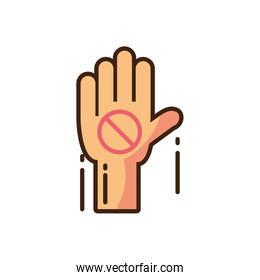 hand with forbidden sign icon, fill style and colorful design