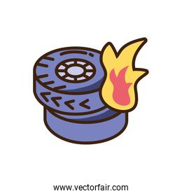 car tires burning icon, fill style and colorful design