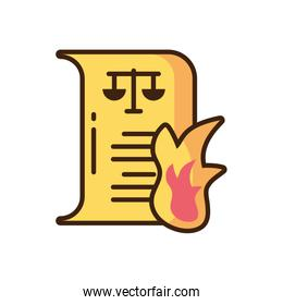 law paper on fire icon, fill style and colorful design