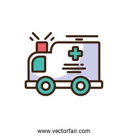 cartoon ambulance icon, colorful fill style