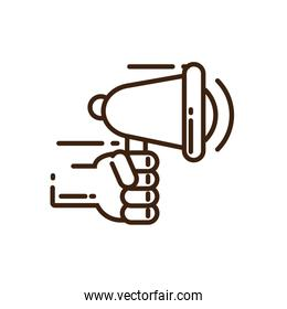 hand holding a megaphone icon, line style