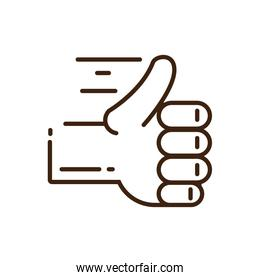 hand with thumb up icon, line style