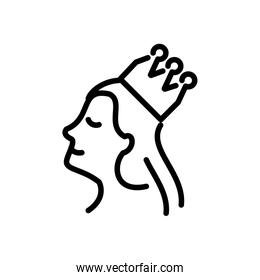 queen with crown, line style icon