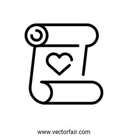 parchment with heart icon, line style icon