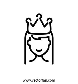 princess with crown, line style icon