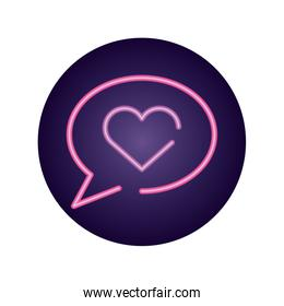 speech bubble with heart icon , neon style design