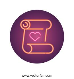 parchment with heart icon, neon style icon