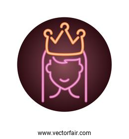 princess with crown, neon style icon