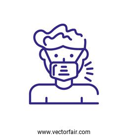 man with mouth mask icon, line detail style