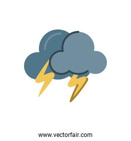 storm clouds with thunders, flat style icon