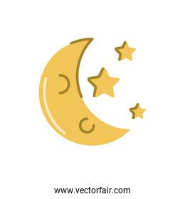 moon and stars, flat style icon