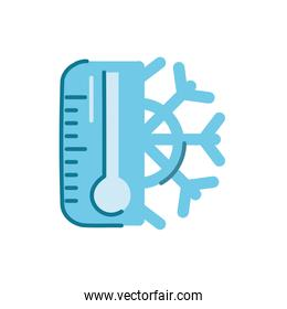 temperature thermometer with snowflake, flat style icon