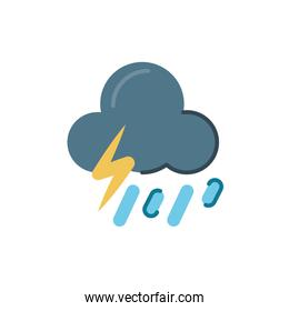 storm and rainy cloud with thunder icon, flat style design