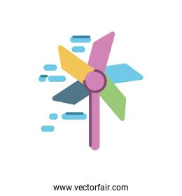 wind mill toy icon, flat style design