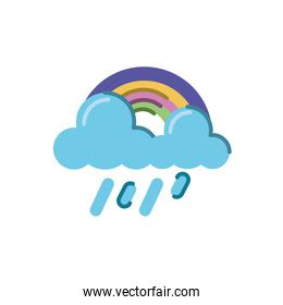 rainbow with rainy clouds icon, flat style design