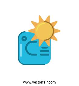 Thermostat temperature control with sun icon, flat style icon