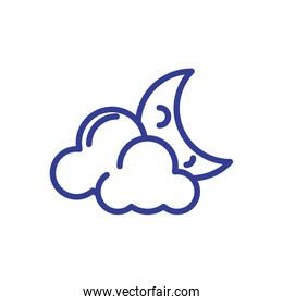 clouds and moon, line style icon