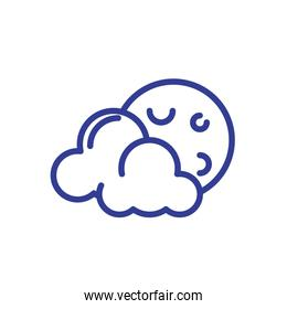 moon and clouds icon, line style design