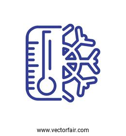 temperature thermometer with snowflake, line style icon