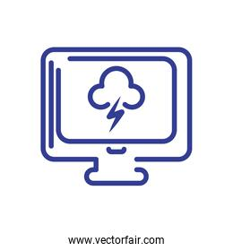 computer with storm clouds icon, line style icon