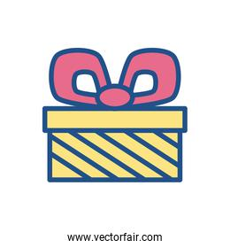 gift box with pink bow, line style icon