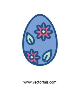 floral easter egg icon, colorful and line style design