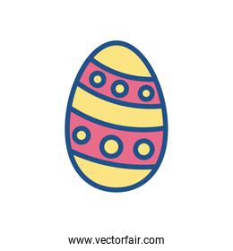 easter egg with striped and dots design, line style icon