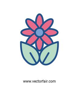 beautiful flower with leaves icon, colorful and line style design