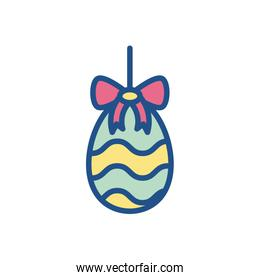 easter egg with decorative pink bow, line style icon