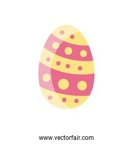 easter egg with striped and dots design, flat style icon