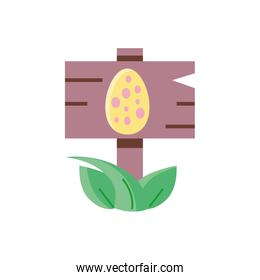wooden sign with easter egg, flat style icon