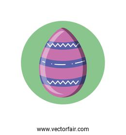 striped easter egg icon, block style design
