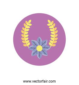wreath of leaves and beautiful flower, block style design