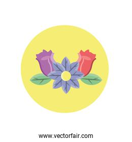 beautiful flower and roses icon, block style design